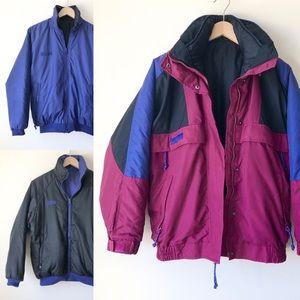 Vintage 90s Columbia 3-in-1 Reversible Jacket S